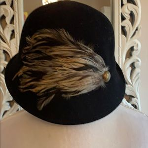 Black Wool Hat with Feather Accent